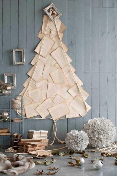 Árbol Navidad hojas papel