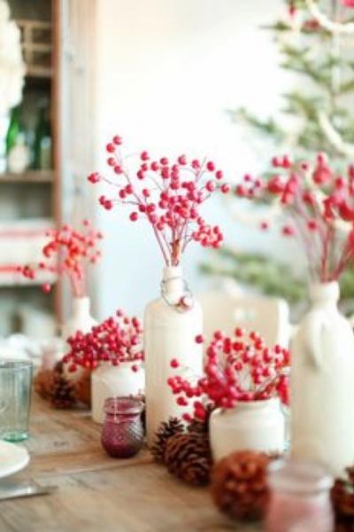 Jarrón bayas rojas Navidad